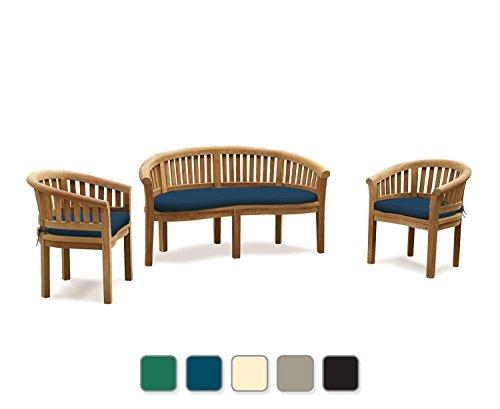 Wimbledon Banana Bench, Half Moon Garden Furniture Set (Beige Cushions) -  Jati Brand, Quality & Value Amazon.co.uk Garden & Outdoors