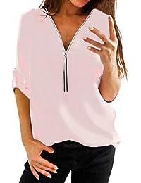 Tops Mujer,BBestseller Sudadera Mujeres Otoño Camiseta Camisa Casual para Mujer Tops Camisa con Cuello