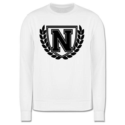 Anfangsbuchstaben - N Collegestyle - Herren Premium Pullover Weiß