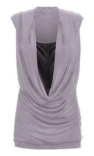 Damen Pulloverkleid Wasserfallausschnitt Top, Raffungen, ärmellos, lang, Gr. 36-54 Grau - Grau