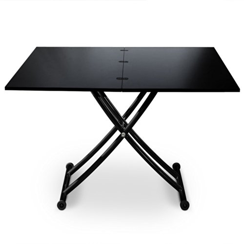 Intense Déco Philadelphia Table Basse Relevable, Métal, Noir, 100 x 57 x 76,3 cm
