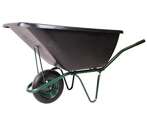 floristikvergleich.de Ondis24 Schubkarre 200 Liter Metallachse, Luftrad, robuste Kunststoffmulde – Bauschubkarre Gartenkarre