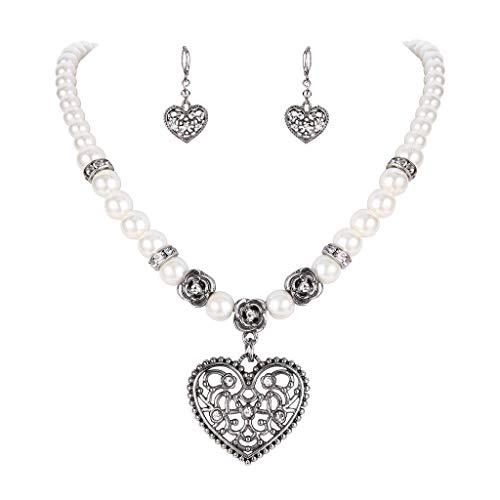 Clearine Damen Oktoberfest Trachtenscmuck Künstliche Perlen Kristall Amulettherz Dirndlkette Perlenkette Ohrringe Schmuck Set