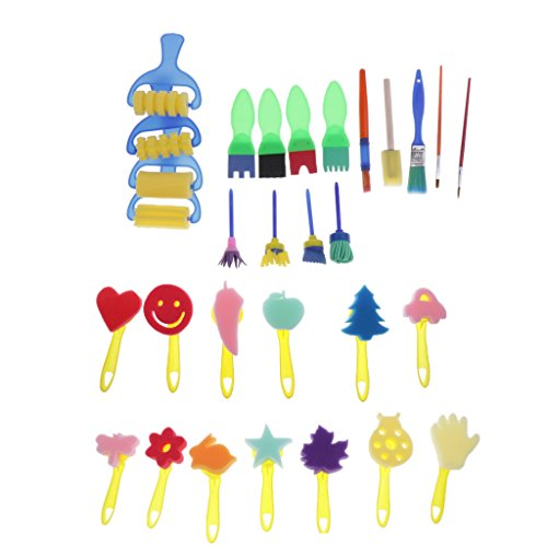 C2K 30Pcs Children's Kids Creative Sponge Paint Brushes Set Art Craft Painting