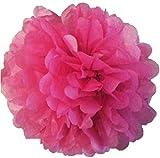 Matissa ', 25cm Pom Pom/Pompons aus Seidenpapier, 10Stück, Hochzeit, Partydekoration, über 20Farben zur Auswahl, Hot Pink