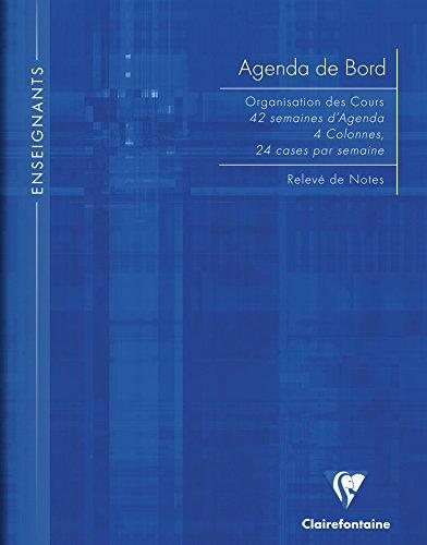 ClaireFontaine - Réf 9059C - Un Agenda de Bord 4 Colonnes (24 cases/semaine) RemBordé Rigide 21x29,7cm 144 Pages Coloris Aléatoire vendu à l'Unité