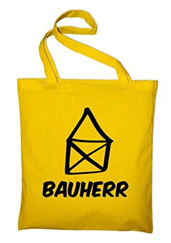 Bauherr Häuslebauer Haus Jutebeutel, Beutel, Stoffbeutel, Baumwolltasche, gelb Gelb