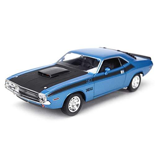 Simulation Automodell, 1:24 Challenger 1970 Legierung Druckguss Dekoration Handwerk Weihnachtsgeschenk 19,4 * 7,7 * 5,4 CM (Color : Sapphire blue) -