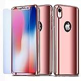 NALIA 360 Grad Handyhülle kompatibel mit Apple iPhone XR, Full-Cover & Schutzglas vorne hinten Hülle Doppel-Schutz, Dünn Ganzkörper Case Etui Handy-Tasche Bumper & Displayschutz, Farbe:Rose Gold