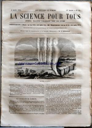 SCIENCE POUR TOUS (LA) [No 32] du 06/07/1865 - LES CHUTES DU ZAMBEZE PAR R. CORTAMBERT LES HERBIERS PAR HENRI VAN HEURCK CHIMIE PRATIQUE INDUSTRIELLE ET AGRICOLE - LE CARBONE PAR G. JOUANNE HYGIENE - LES ALIMENTS PAR DR SCELLES DE MONTDESERT ACADEMIE DES SCIENCES - MOYENS D'EVITER LES AVARIES DES GRANDES MACHINES A HELICE - TELEGRAPHIE AUTOGRAPHIQUE - LA FEVE DE CALABAR - SUR L'EXTRACTION DU SUCRE - NOTE SUR L'EPIDEMIE DES VERS A SOIE - SUR LA STATISTIQUE DES ACCIDENTS DE FO par Collectif