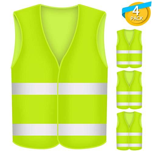Fesoar Warnwesten Auto, Sicherheitsweste, Pannenhilfe, Waschbar, Neongelb, 4 Stück, 125cm
