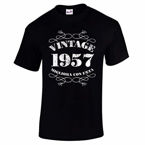 T-shirt da uomo da 60esimo compleanno Vintage 1957 - Maglietta idea regalo per i 60 anni