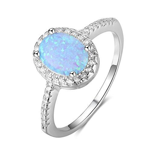 J.Memi's Ringe Damen Sterling Silber 925 Blau Opal Oval Zirkonia Schmuck Statement Verlobungsring Überzogen Festival Geschenk,8
