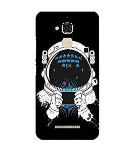 For ZenFone 3 Max (ZC520TL) space man, ask, black background, space Designer Printed High Quality Smooth Matte Protective Mobile Pouch Back Case Cover by BUZZWORLD