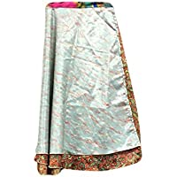 Mogul Interior Womens Reversible Wrap Beach Grey Printed Two Layer Reversible Silk Sari Long Skirt