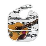 LMFshop Baberos para bebés Música unisex Guitarra Notas musicales Diseño Instrumento rosa Babero para bebés Mancha blanda Alimentación del bebé Babero de baba Babero Eructo para bebés 6-24 meses