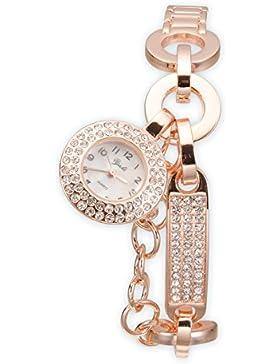Yaki Rosegold Uhr Damen Armbanduhr Modeuhr Armreifen Armkette Quarz Uhren Charms Strass