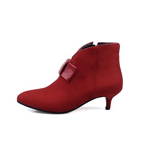 VogueZone009 Damen Nubukleder Mittler Absatz Reißverschluss Spitz Zehe Stiefel mit Schleife Rot
