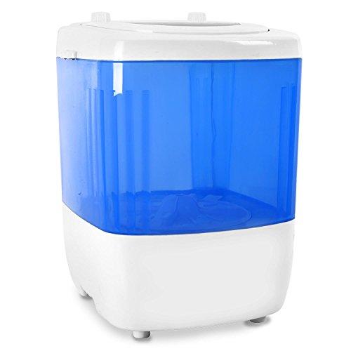 oneConcept SG001 • Mini-Waschmaschine • Camping-Waschmaschine • Toploader • für Singles • Studentenhaushalte • Camper • 1,5 kg Kapazität • 180 Watt Leistung • geräuscharm • geringer Wasser- und Energieverbrauch • ohne Wäscheschleuder • weiß-blau