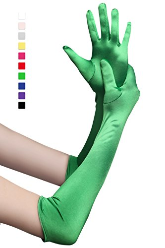 Drucken Fingerlose Handschuhe (BABEYOND Damen Handschuhe Satin Classic Opera Fest Party Audrey Hepburn Handschuhe 1920er Stil Handschuhe Elastisch Erwachsene Größe Ellenbogen bis Handgelenk Länge 52/55cm (Lang Glatt 52cm / Grün))