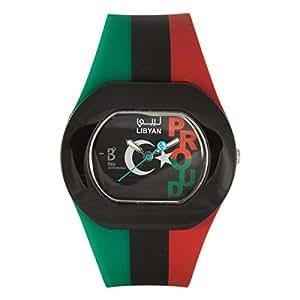 B360 WATCH - B PROUD Libyan - Montre Mixte - Quartz - Analogique - Aiguilles lumineuses - Bracelet Silicone multicolore