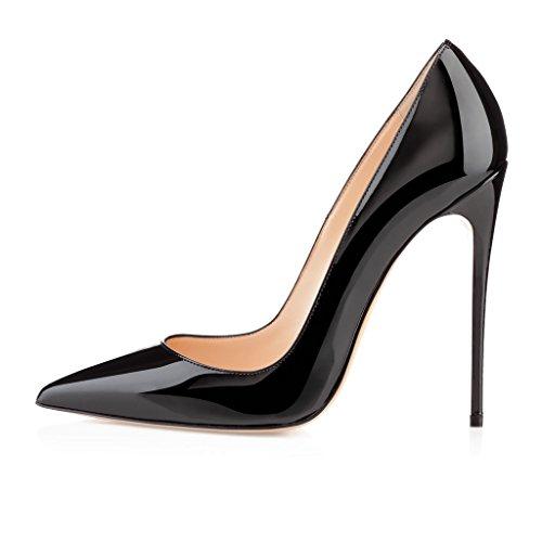 EDEFS Damenschuhe Faschion SUKaite 120mm Spitzschuh klassische Partei dünne Pumps Stiletto Schuhe Schwarz-Patent