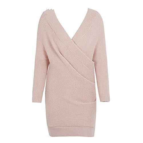 QWDXS Robe en Tricot Pull Col V À Tricoter Robe Femmes Lâche Robe Tricotée Femme Automne, Nude, One Size