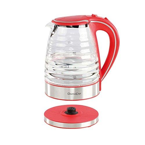Kabelloser Wasserkocher Glas Edelstahl Blaue Beleuchtung Wasserstandsanzeige (1,7 Liter, Starke 1350 Watt, Kontrollleuchte, Antikalk-Filter, Rot) -