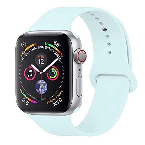 GIPENG Für Apple Watch Armband 42mm 44mm, Soft Silikon Classic Sportarmband Ersatz Uhrenarmbänder für iWatch Series 4, Series 3, Series 2, Series 1(Türkis, 42ML)