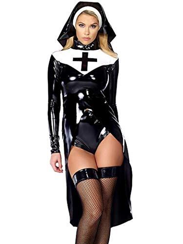 Halloween Cosplay Donna Sexy Costume Suora Attrezzatura Per Feste Costumi M, L, XL XXL Nero,Black,XL