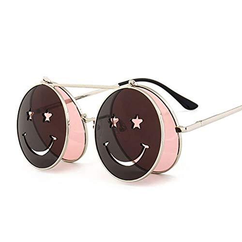 TIANKON Nette lächelnde Gesichts-Frauen-faltende Sonnenbrille-Mann-Doppellinsen-abgetönte Gläser Uv400,Rosad
