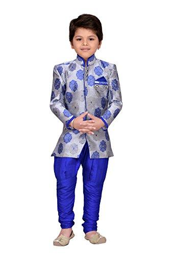 AJ Dezines kids festive and party wear Sherwani for boys (7001_ROYAL_GREY_0)