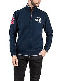 La Martina Uomo Zip-Through Sweatshirt Blu Marino