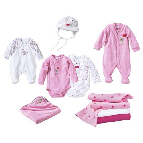 BORNINO Erstausstattungs-Set 10-tlg. Baby-Unterwäsche Babykleidung Bekleidungspaket, rosa