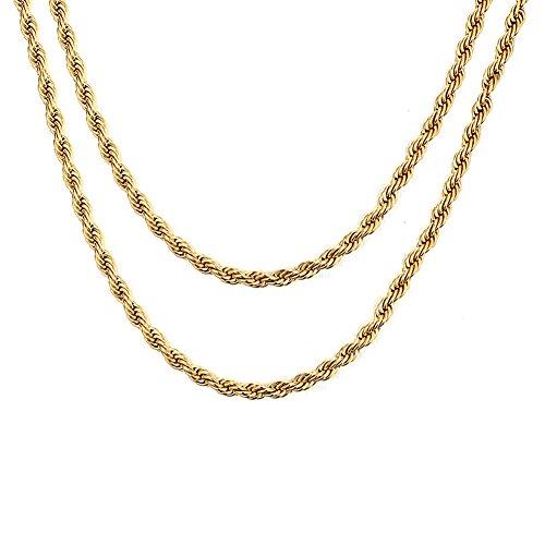 Vnox 2 Stück 18 Karat Gold überzogenes Edelstahl gedrehtes Seil Ketten Halskette für Männer Frauen,50cm + 60cm