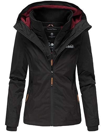 Marikoo Damen Regen Jacke Outdoor Regenjacke Winterjacke Fleece Gefüttert Kapuze XS - XXL Erdbeere (S, Schwarz)