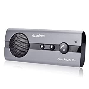 Avantree Kit Vivavoce Bluetooth per Auto con ACCENSIONE AUTOMATICA Tramite Sensore di Prossimità e Supporto per Aletta Parasole, Funziona con i GPS, Musica, Wireless Viva voce per iPhone, Samsung