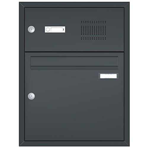 Max Knobloch Unterputz-Briefkasten mit Sprechsieb/Klingel anthrazitgrau (RAL 7016) 12 Liter