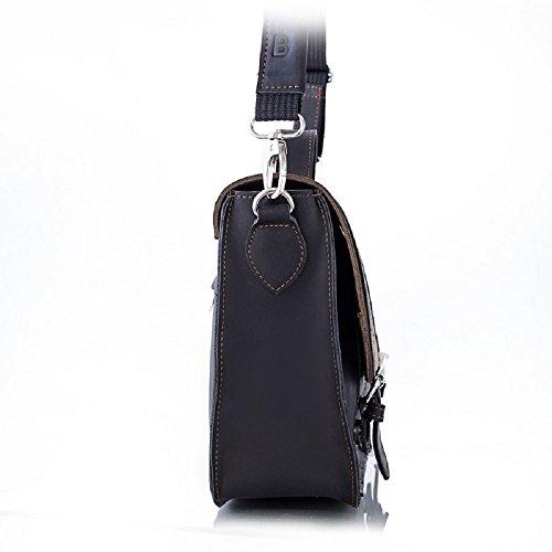 Brodrene echtes Leder Herren Schulter Laptop Tasche Premium BL11 (DunkelBraun) DunkelBraun