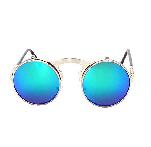 Xinjiener Retro Metall Sonnenbrille Punk Sonnenbrille Neutral Metallrahmen Fashion Brille Modelle Rund Spiegel Sommer für Outdoor Interaction Ins Style