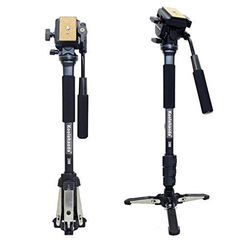 """Koolehaoda Professionelle Kamera Einbeinstativ und Fluid-Videokopf mit  Standfüße für drei Füße, Max: 58,2 """""""