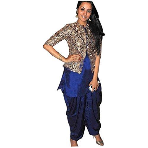 Aryan Fashion Women\'s Banglory Silk Semi-Stitched Dress Material (Afs-Er-Er10743_Blue_Free Size)