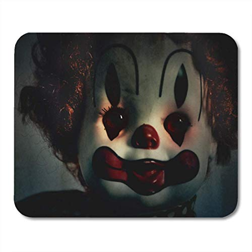 HOTNING Gaming Mauspads Mouse Pad Closeup of Scary Evil Clown Toy Doll That Could Be Possessed Halloween Fear 11.8