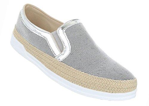 Damen Schuhe Halbschuhe Slipper Freizeitschuhe Mit Stretch Schwarz Silber