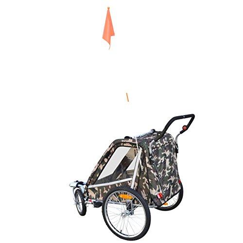 PAPILIOSHOP LEON Rimorchio passeggino carrellino per il trasporto di 1 o 2 uno due bambino bambini con la bici ruota anteriore piroettante bicicletta portabimbo bimbo bimbi portabimbi carrello pieghevole carrozzina da con x porta (New Mimetico) - 9