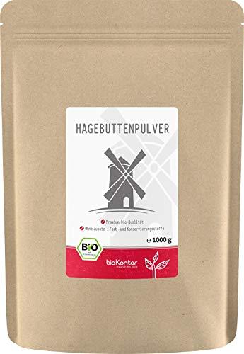 Bio Hagebuttenpulver (1000g / 1kg) in Rokostqualität von bioKontor | ganze Hagebutten vermahlen | 100% BIO - ohne Zusätze -