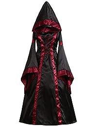 Cinnamou Vestido de Retro Medieval renacentista de Las Mujeres Vestidos Largos de Cuello Cuadrado gótico Vintage