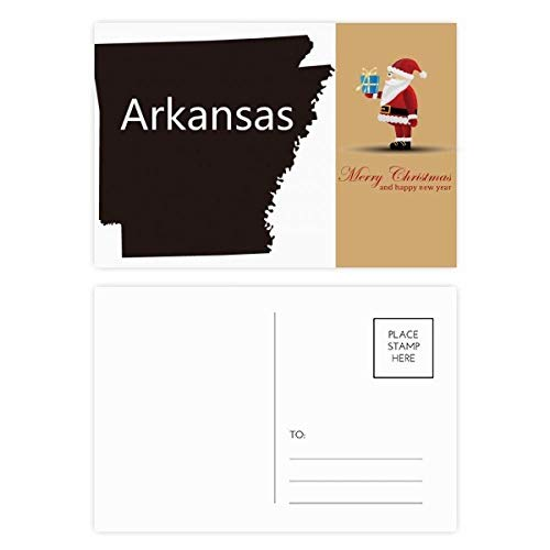 Arkansas Amerika USA Karte Silhouette Santa Claus Postkarten-Set, Danksagungskarte, 20 Stück -