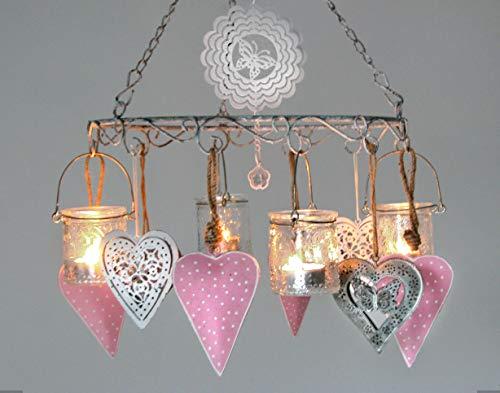Trendoro Hängeleuchter, Windlicht, Hängekranz Metall Silber-Grau mit Antik-Patina Ø 30 cm mit 4 Hänge-Teelichthaltern & kompl. Dekoration, 14-teiliges Set. *N103*