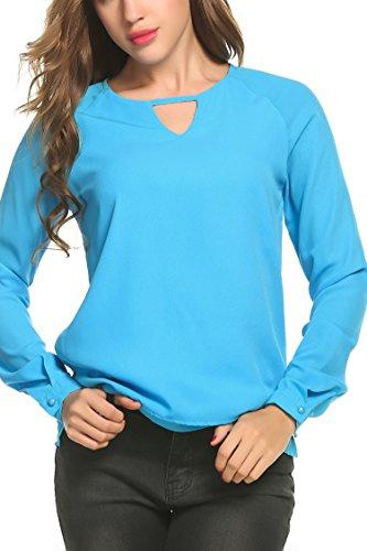 Trudge Damen Chiffon Bluse Elegant T-Shirt Sommer Blusen Loose Fit Tops Tunika Oberteil (XL (Herstellergröße: XL), Hellblau-2)